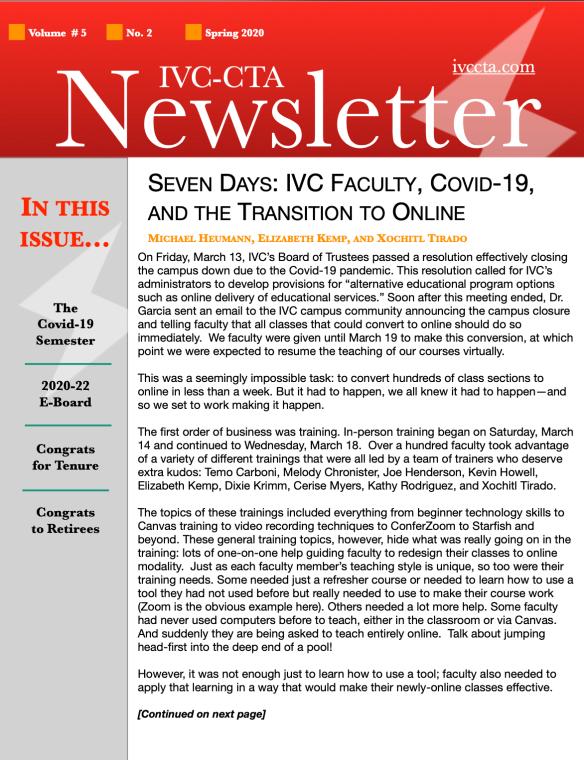 IVC CTA Spring 2020 Newsletter